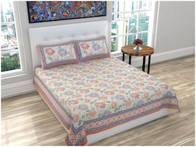 PK Fashions Cotton Floral Queen Size Bedsheet 116 TC ( 1 Bedsheet With 2 Pillow Covers , Peach )