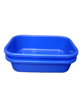 Plastic Bucket Basin Tub for Multipurpose - Storing Water , Utensils in Kitchen , Foot Pedicures and Bathing - Blue (Pack of 2)