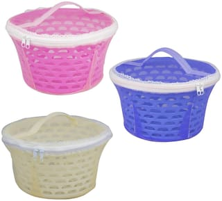 Plastic Fruit & Vegetable Carrying Basket With Net Cover Round Pack of 3