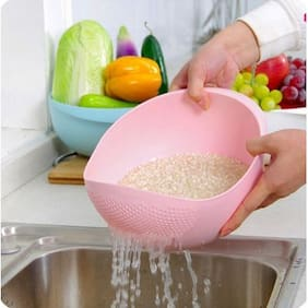 Plastic Grains & Vegetables Washing Bowl & Strainer ( Multi color )