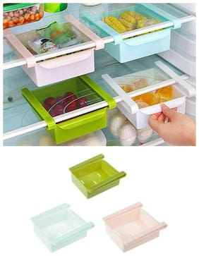 Plastic Kitchen Refrigerator Storage Rack Home Fridge Shelf tray (1Pc) Assorted Color