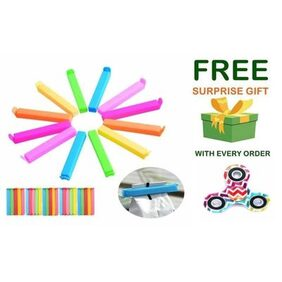 Plastic Seal Clips Multicolor Bag Fresh-Keeping Clamp Sealer for Food and Snack Bag in Pack of 12 Big & Small Size With ( Get a free surprised assured gift upto worth Rs 299/- with every purchase )