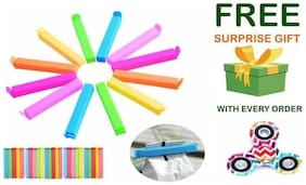 Plastic Seal Clips Multicolor Bag Fresh-Keeping Clamp Sealer for Food and Snack Bag in Pack of 24 Big & Small Size With ( Get a free surprised assured gift upto worth Rs 299/- with every purchase )