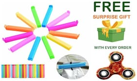 Plastic Seal Clips Multicolor Bag Fresh-Keeping Clamp Sealer for Food and Snack Bag in Pack of 24 Big & Small Size With ( Get a free surprised assured gift upto worth Rs 149/- with every purchase )