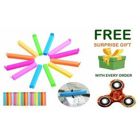 Plastic Seal Clips Multicolor Bag Fresh-Keeping Clamp Sealer for Food and Snack Bag in Pack of 12 Big & Small Size With ( Get a free surprised assured gift upto worth Rs 249/- with every purchase )