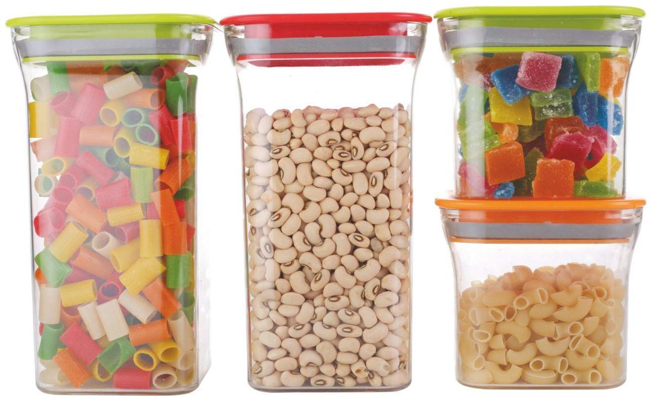 Plastic Square Storage Box and Kitchen Container Pack of 4  1100 ml and 600 ml    Multicolor