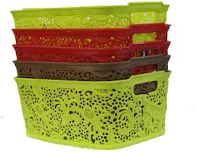 Plastic storage and Fruit Basket Pack of 5