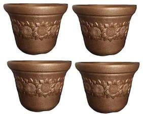 Plastic Sunflower Pot  Plant Container Set  (Plastic) (size-12 cm)