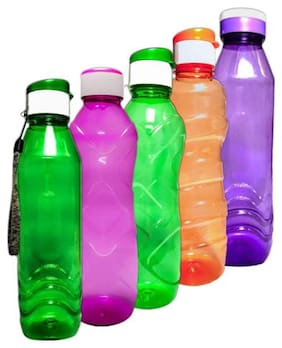 ARNAH TREASURE Plastic Green Water Bottle ( 1000 ml , Set of 5 )