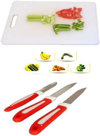 Plastics Chopping Board For Vegetable & Fruit Cutting With Free 3 pcs Knife Combo Set (1 pc Chopping Board & 3 pcs Knife Set) By DealDelivery