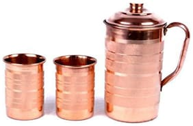 PLAYNET 100% Pure Copper Plain Lining Style Jug & Two Glass With Lid For Storage & Serving Water in Home & Hotel Restaurant Beneficial for Health