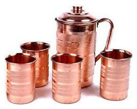 PLAYNET 100% Pure Copper Plain Lining Style Jug & Four Glass with Lid for Storage & Serving Water in Home & Hotel Restaurant Beneficial for Health