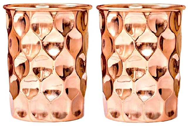 PLAYNET Copper diamond Glass Tumbler, Serveware & Drinkware, Ayurveda Health Benefits.Pack of...