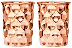 PLAYNET Copper diamond Glass Tumbler, Serveware & Drinkware, Ayurveda Health Benefits.Pack of 2
