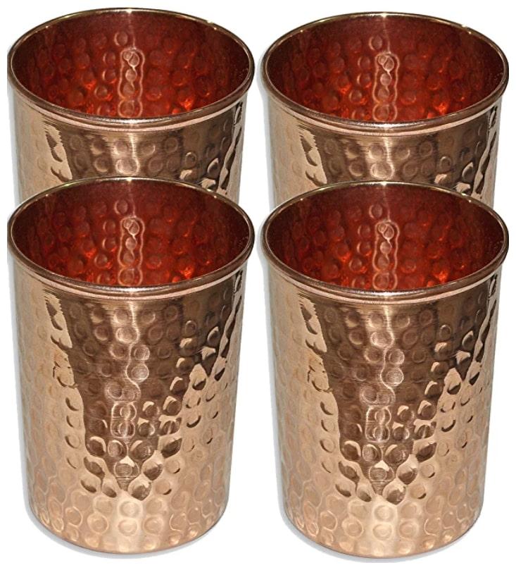 PLAYNET Copper Hammered Glass Tumbler, Serveware & Drinkware, Ayurveda health benefits.Pack of...