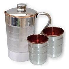 PLAYNET  Pure Copper Silver Lining Design Jug & Two Glass with Lid for Storage & Serving Water in Home & Hotel Restaurant Beneficial for Health