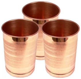 PLAYNET Pure Copper Lining Glass For Good Health Benefits, Pack of 3