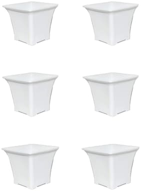 PLEXZON  Pearl White Beautiful Small 2.5 INCH Flower Pot and Container Set of 6