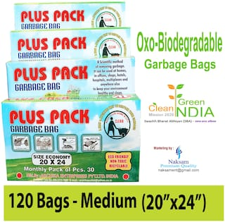 Plus Pack Biodegradable Garbage bags medium size for home (20 inch x 24 inch), Garbage bag/Trash Bags/Dustbin bags (120 bags)