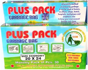 Plus Pack  Garbage Bags Biodegradable Premium Black  Medium Size 20 inch x 24 inch, (60 Bags)