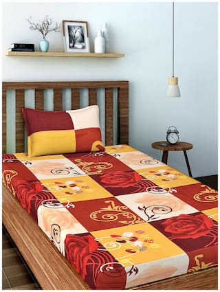 Spangle Microfiber Printed Single Size Bedsheet 104 TC ( 1 Bedsheet With 1 Pillow Covers , Multi )