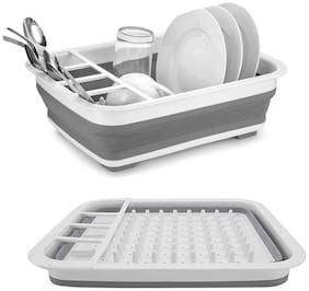 Portable Dish Bowl Sink Rack - Fold-able Silicone Kitchen Drainer Tub Basin - Water Strainer with Utensil Holder and Serving Tray