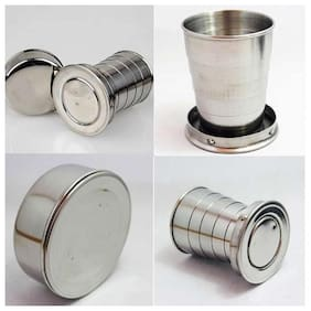 Portable Folding Stainless Steel Travel Camping Water Mug Cup Glass pack of 1