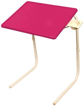 Portable Laptop Table Pink Top White Legs