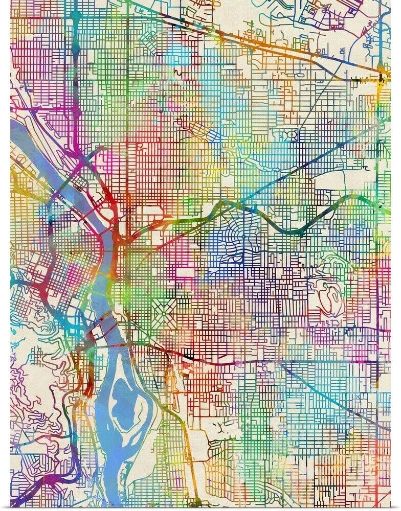 portland oregon city map Buy Portland Oregon City Map Poster Print Online At Low Prices portland oregon city map
