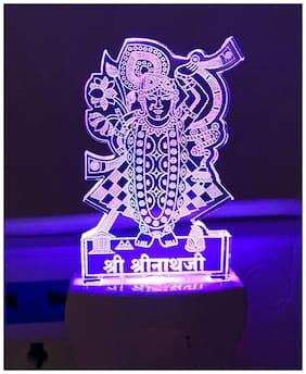 Poveria 3D Shreenath Ji Acrylic Night Lamp with 7 Colour Changing Night Light (Size 4 Inch)Multicolour
