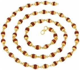 Pratima Natural 10mm Rudraksha Japa Mala with gold plated 54 beads Wood Chain