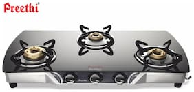 Preethi 3 Burners Stainless Steel With Glass Top Gas Stove - Black