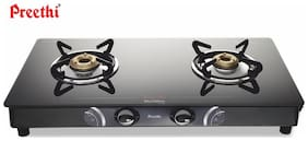 Preethi BLU FLAME GLEAM 2 Burners Stainless Steel With Glass Top Gas Stove - Black