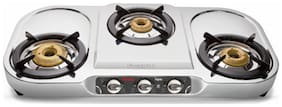 Preethi 3 Burners Gas Stove - Silver