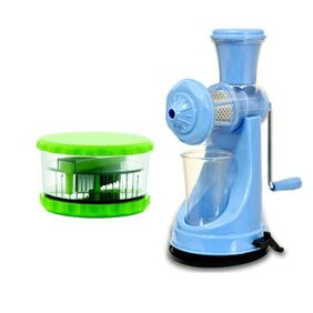 Premillia Premium Plastic Unbreakable Fruit Juicer Blue with Free Combo of Multi Garlic Crusher Green