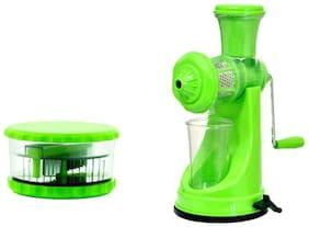 Premillia Premium Plastic Unbreakable Fruit Juicer Green with Free Combo of Multi Vegetable Crusher Green