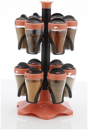 Premillia Kitchen Container and Organizer Spice Storage Rack Masala Organiser with attractive New Look - 12 Bottle Spice Rack - Orange (Set of 1)