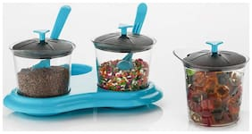 Premium Multipurpose Revolving Pickle Jar Set for Dining Plastic Spice Storage Rack 3 Piece / 3 jar Condiment Set, mouthfreshner Set (Multi Colour)