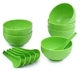 Premium Quality Round Shape Soup Bowls Set (6 Bowl and 6 Spoon) - Microwave Safe