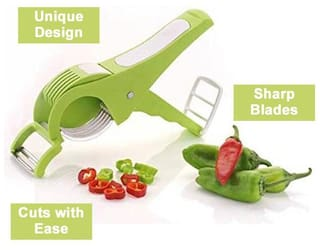 Kitchen4U 2 in 1 Vegetable Cutter & Peeler, with Sharp Stainless Steel 5 Blade (Assorted Color)
