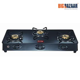 Prestige 3 Burners Regular Gas Stove - Black , Auto Ignition