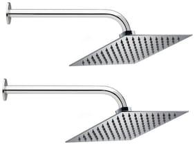 Prestige 8x8 Ultra Slim Rain Shower Head with 38.1 cm (15 Inch) Round Arm -Pack of 2
