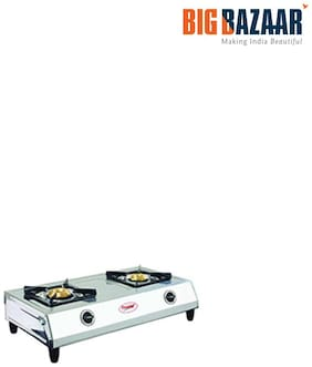 Prestige 2 Burner Manual Regular Silver Gas Stove - Agni