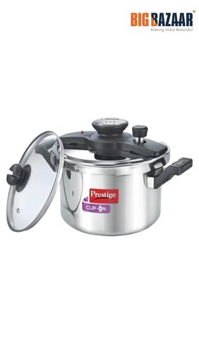 Prestige Clip On Stainless Steel Pressure Cooker with Glass Lid 5 Litres
