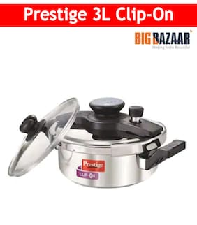 Prestige Clip On Stainless Steel Pressure Cooker with Glass Lid 3 Litres