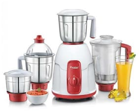 Prestige ELEGANT 750 WATT Juicer Mixer Grinder ( Red & White , 4 Jars )