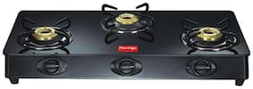 Prestige MARVEL 3 Burners Stainless Steel With Glass Top Gas Stove - Black