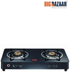 Prestige (GT 02) 2 Burners Stainless Steel Gas Stove - Black , Auto Ignition