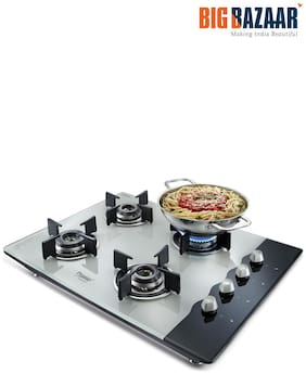 Prestige 4 Burners Hob Top Gas Stove - White , Auto Ignition