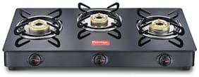 Prestige Magic 3 Burner Regular Black Gas Stove , ISI Certified